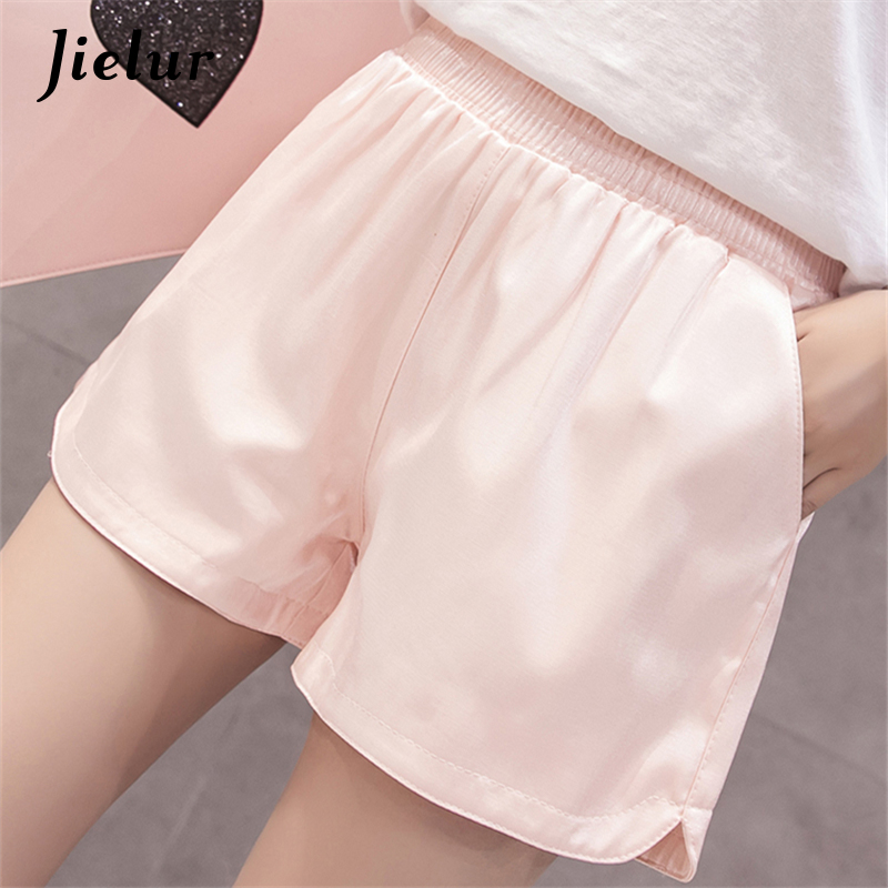 Jielur Black Shorts Elastic-Waist Wide-Leg Korean Women Chic Loose Solid for Female Spodenki