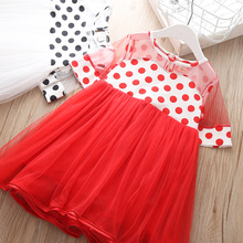 купить kids dress little girls elegant dresses tutu princess party holiday Cloth belle red lace robes kid frocks clothes Cute Ball Gown дешево