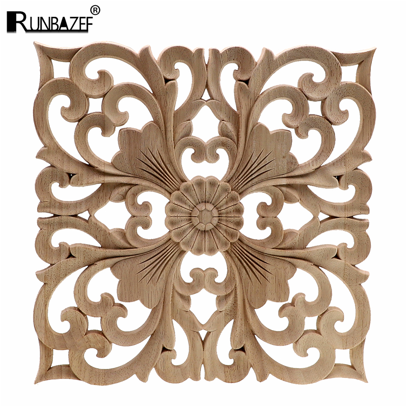 RUNBAZEF Wooden Decal Supply European-style Applique Real Wood Carving Accessories Wholesale And Retail.Woodcarving