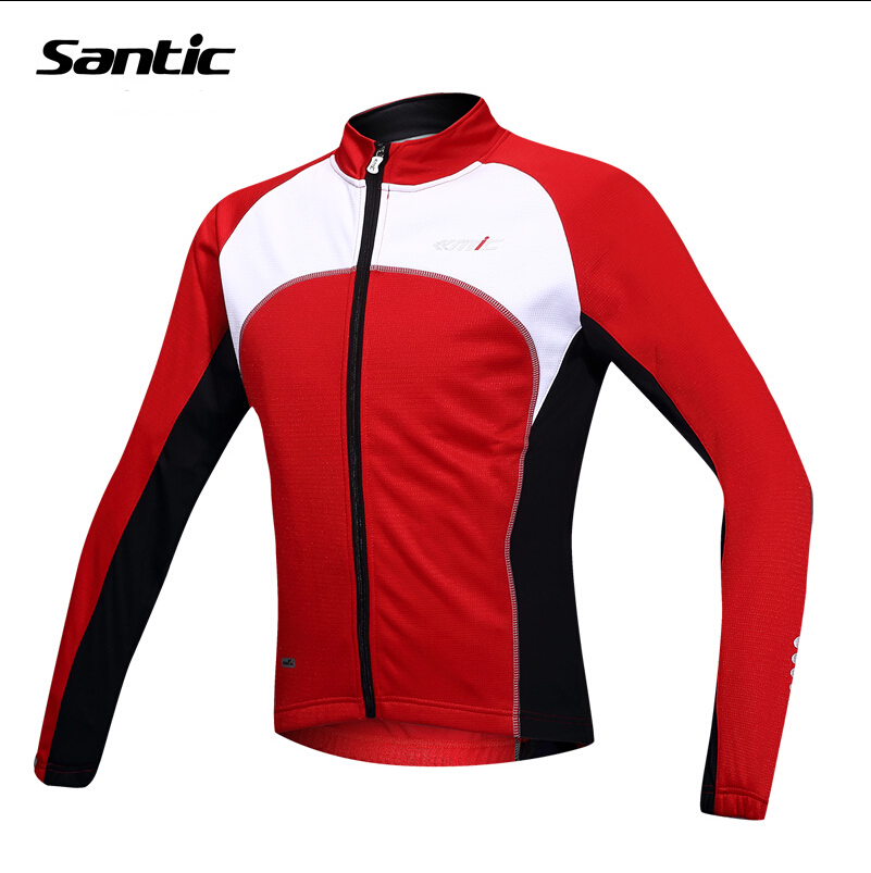Santic Circle Mountain Red Winter Cycling Jacket Thick Long Sleeve Mens Outdoor Bicycle Warm Thermal Sports Clothing arsuxeo cycling coat winter men fleece sport jacket long sleeve warm breathable waterproof outdoor mountain bike bicycle suit