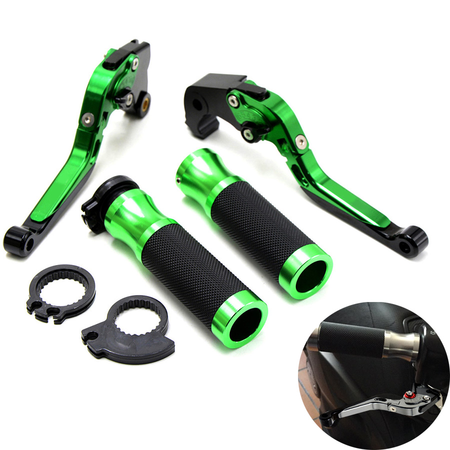 Motorcycle Brake Clutch Levers&7/8Handlebar Hand Grips For Kawasaki Z1000 2007-2016 ZX6R/636 07-16  ZX10R 06-15 Z750R	2011-2012 motorcycle adjustable brake clutch levers 7 8handlebar hand grips handlebar for kawasaki z1000 2003 2004 2005 2006