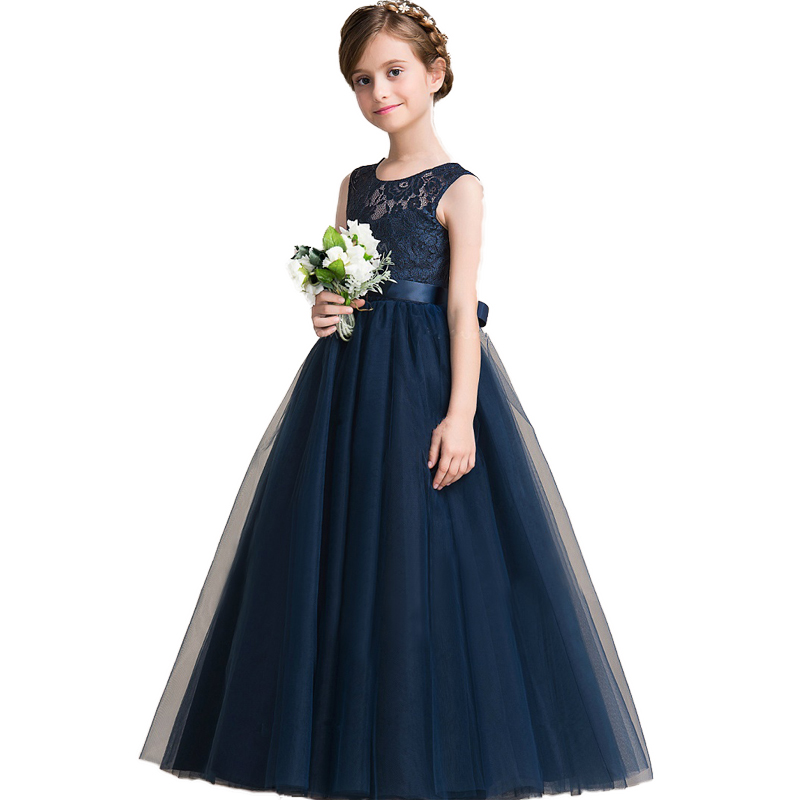 Flower Girl Dresses elegant Princess Lace Wedding Gown High Quality Long Style Sleeveless Birthday Party Pageant Formal Dress elegant flower lace lacut cut wedding invitations set blank ppaer printing invitation cards kit casamento convite pocket