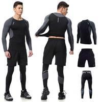 Men Long Johns Winter Fitness Gymming Sporting Suit Runs Top Shirts + Tight + Shorts Leggings Pants Thermal Underwear Sets