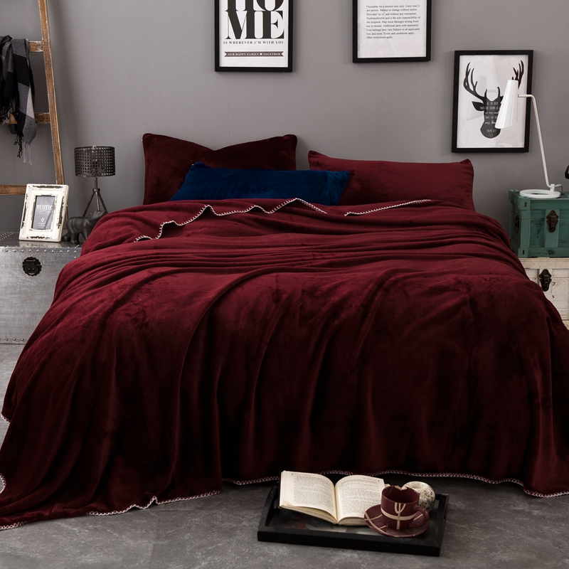 European Style Wine Red 200x230cm Hot Sale Big Size <font><b>Blankets</b></font> For Beds Fleece Warm Winter Sleeping Sofa <font><b>Blanket</b></font> Plaid Bedspreads