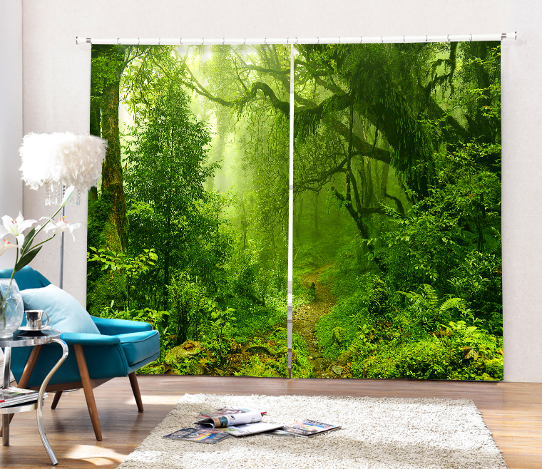 <font><b>Outdoor</b></font> Landscape Printing Blackout Curtains Living Room or hotel Drapes Cortians Sunshade Window Curtain 3D Curtains