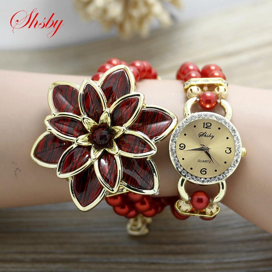 Shsby moda Kadınlar Rhinestone Saatler Bayanlar inci kayış Birçok - Kadın Saatler - Fotoğraf 3
