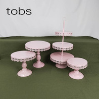 4pcs Cupcake Wedding Pink Baby Show Decoration Crystal Supplier Set 3 Tier Cake Stand