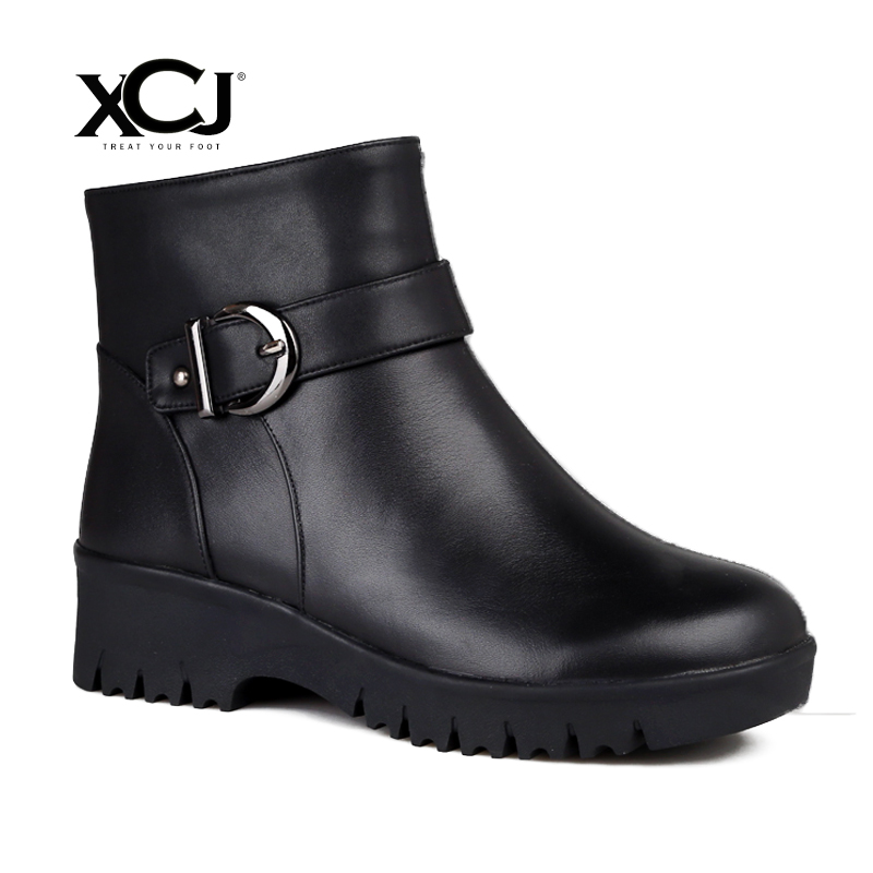 купить Women's Winter Shoes Natural Wool Genuine Leather Mid Calf Boots Women Winter Boot High Quality Brand Women Winter Shoes XCJ по цене 4351.84 рублей