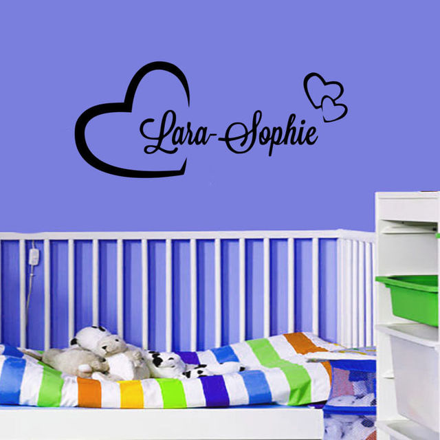 Personalized Custom Your Name In Hearts Vinyl Decal Nursery Wall - Personalized custom vinyl wall decals for nursery