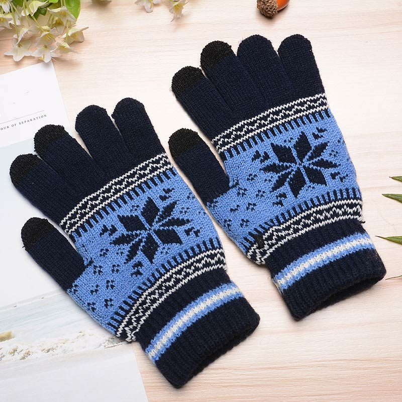 Fashion Men Women Winter Gloves Floral Knitted Keep Warm Fitness Mittens Screen Touch Gloves For Mobile Phone iPad Tablet VL