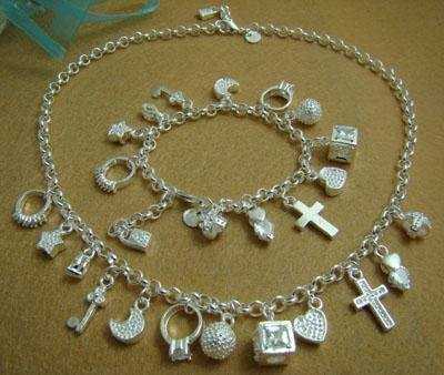 Good Quality S72 Wholesale Fashion Jewelry Set,925 Stamped 925 Silver Necklace And Bracelet 13 Charm