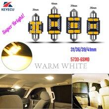 Keyecu гирлянда 31-41 мм теплый белый очень яркий 6SMD-5730 DE3175 DE3022 светодиодный лампы для салона Потолочные плафоны 10 -30 В