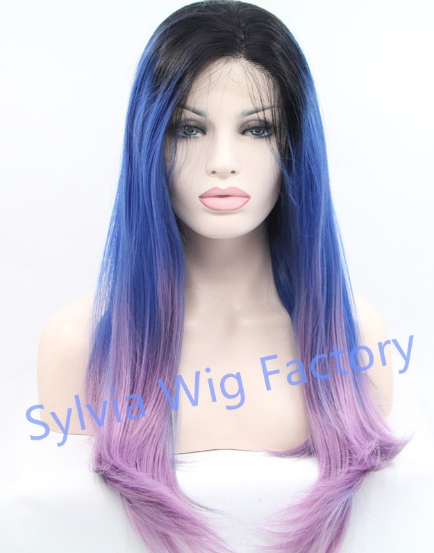 ФОТО 2015 fashionable three tone ombre silky straight wigs synthetic lace front wig heat resistant fiber large stock