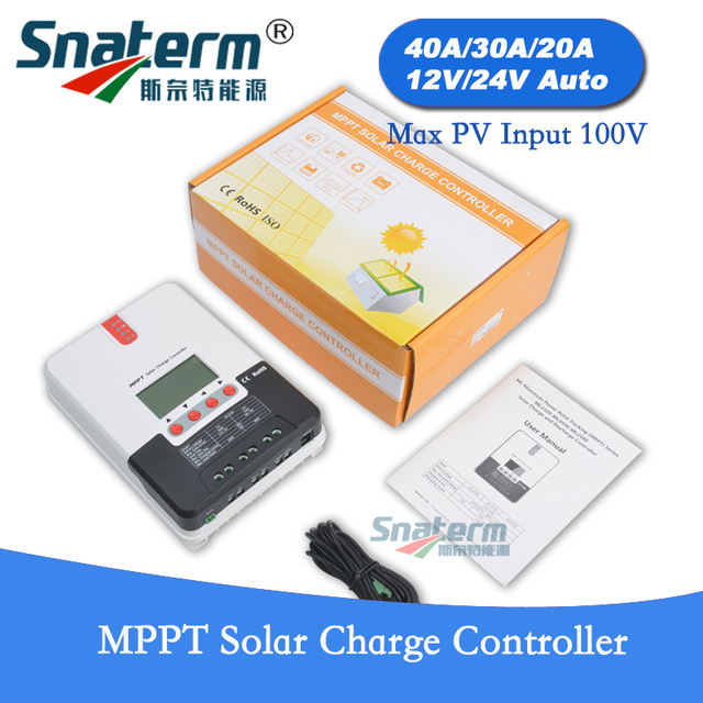 US $85 1 10% OFF|Free shipping!! 40A 30A 12V/24V Auto MPPT Solar Charge  controller Solar MPPT battery charger Charge Regulator Max PV input 100V  -in