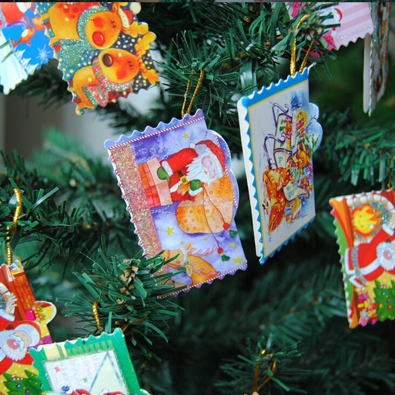 12Pcs/Set Hanging Christmas paper cards set greeting / thank you ...