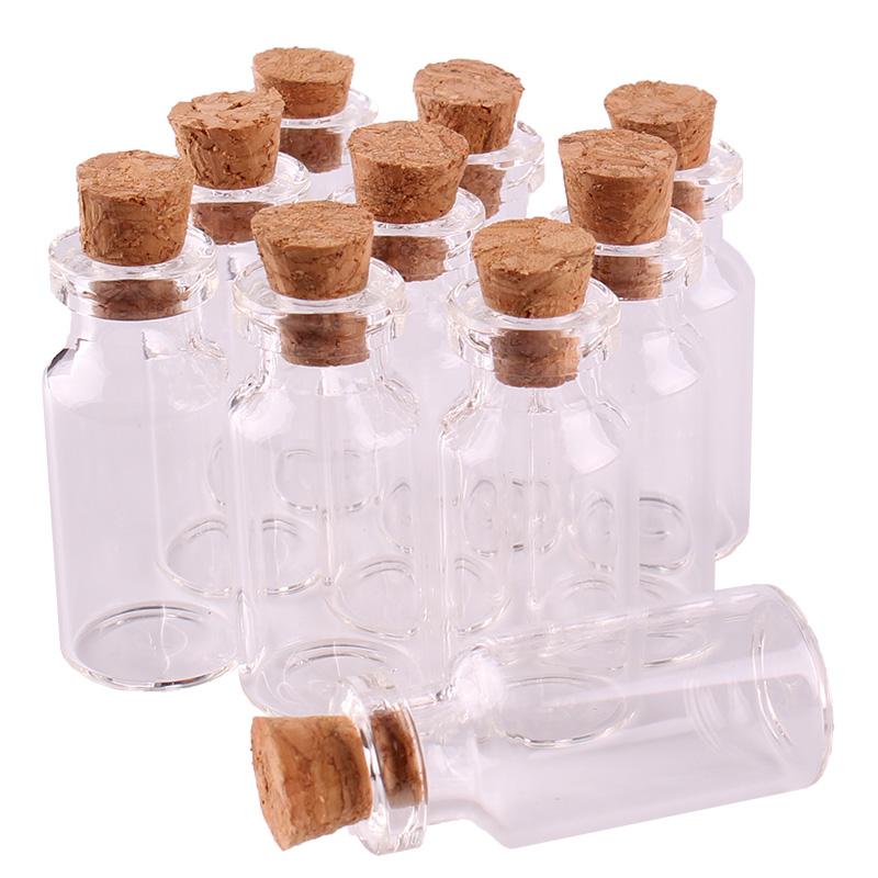 100pcs 16*35*7mm 2ml Mini Glass Wishing Bottles Tiny Jars Vials With Cork Stopper Wedding Gift