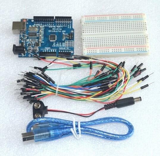 Starter Kit Uno R3-Faisceau de 5 Articles: Uno R3, planche à pain, Jumper Fils, Câble USB et 9 V Batterie Connecteur