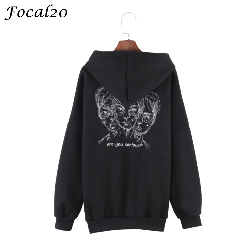 Focal20 Harajuku Head Embroidery Women Fleeces Hoodies Gothic Punk Oversize Velvet Hooded Sweatshirt Pullover Streetwear