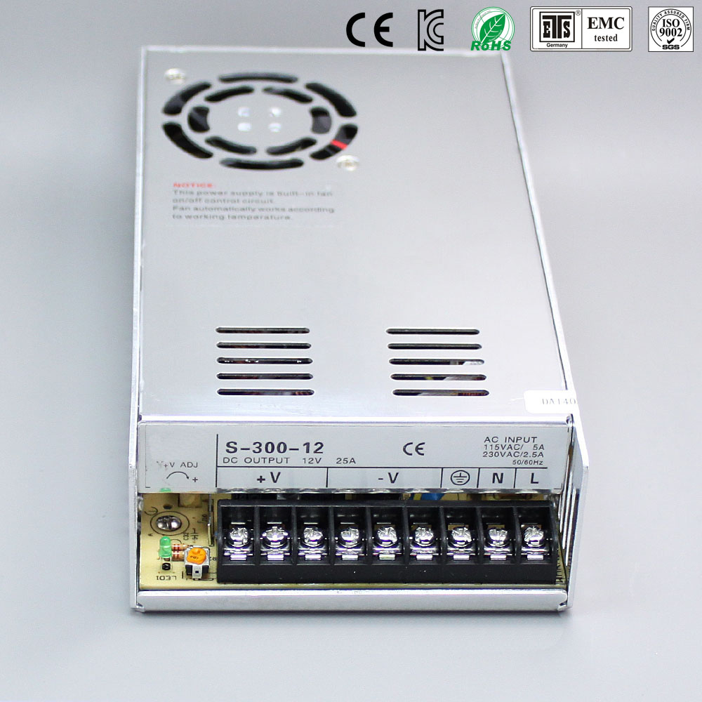 Best quality 12V 25A 300W Switching Power Supply Driver for LED Strip AC 100-240V Input to DC 12V free shipping hot 12v 50a 600w 100 264v electronic transformer high quality safy led current driver for led strip 3528 5050 power supply