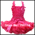 13 options FREE SHIPPING 2014 Boutique Pure Color Baby Pettiskirt Set Chiffon top + skirt Girls Pettiskirts Tutu Suit
