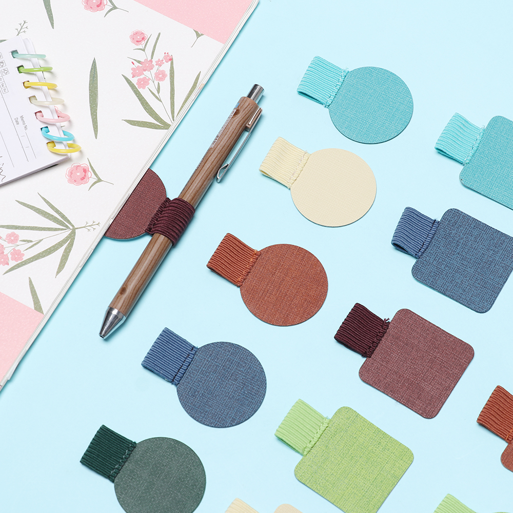 1Pcs 25 Style Self-Adhesive Leather Pen Clip Pencil Elastic Loop For Notebooks Journals Clipboards Pen Holder Elastic Loop