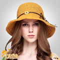 2016 Nova Mulheres Da Praia do Verão Aba Larga chapéu de Palha Chapéu de Sol Cap Elegante para As Mulheres Dobrado B-2307