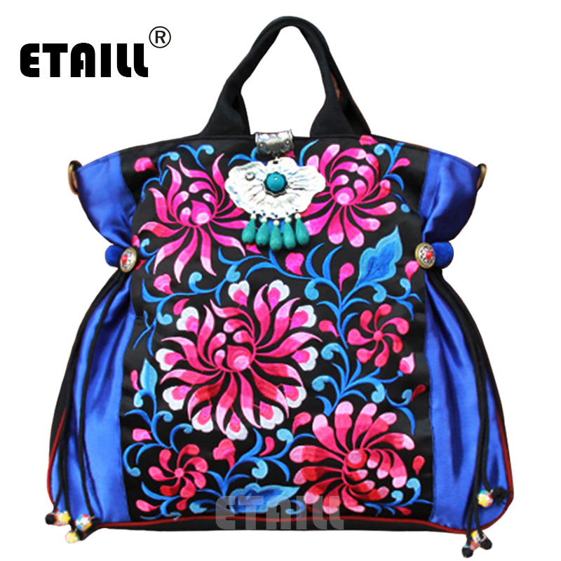 2016 Handmade Flowers Embroidered Bags Original National Thai Boho Indian Beaded Embroidery Shoulder Bag Handbag Sac a Dos Femme national embroidered bags embroidery unique shoulder messenger bag vintage hmong ethnic thai indian boho clutch handbag 25 style