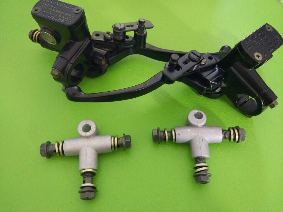 ATV Right and Left Hydraulic Brake Master Cylinder W/ Parking and 2pcs Connect 70 90 110 125CC ATV QUAD 2pcs left