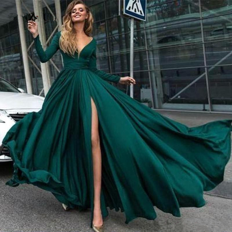 Elegant Muslim Evening Dresses 2019 A line V neck Long Sleeves Chiffon Slit Islamic Dubai Saudi
