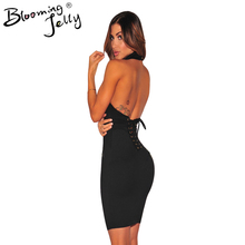 Blooming Jelly Choker Neck Backless Back Lace Up Turtleneck Bodycon Mini Short font b Dress b