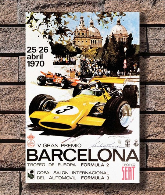 Grand Barcelona Racing Car Prix Poster Art L-w Canvas Print Decoration 12×18 24×36 27×40 Inch