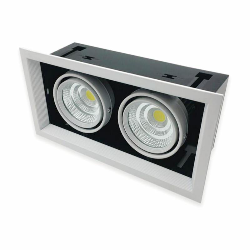 Freeshipping 2*12 W Cuadrado doble LLEVÓ el Techo dimmable Epistar LED lámpara de techo empotrada Foco Downlight AC110V-240V