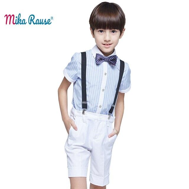 Fashion kids summer clothes set boys short children's cotton shirts costume gentleman toddler boy clothes (striped shirt+pants)
