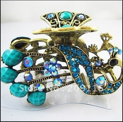 Promotion Antique Gold Plated Turquoise Crystal and Rhinestone Peacock Hair Claw Clips