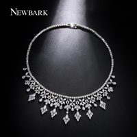 NEWBARK Wedding Necklace For Brides Multi Color Cubic Zirconia Diamond Noble Jewelry White Gold Plated Choker