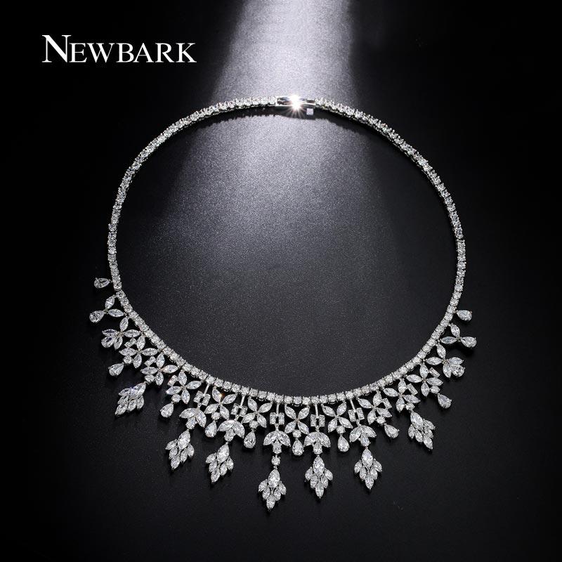 NEWBARK Luxury Women Wedding Necklace Silver Color or Multicolor Cubic Zirconia Bridal Engagement Necklace Jewelry