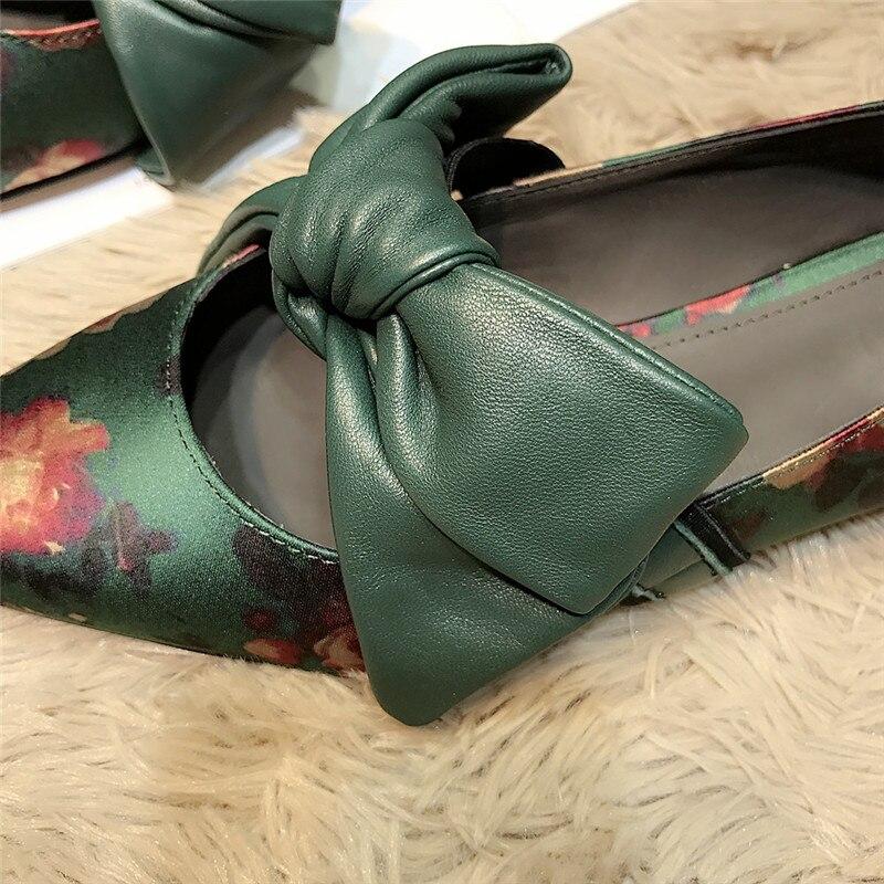 Plats Doux Pic Fleurs Profonde Femme Peu Bowknot Pointu Mocassins 19ss As En Femmes Sur Slip Décontractées De Soie Imprimé Cuir Chaussures Bout Vert ZFInB