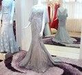 DM Luxo Cinza Evening Vestidos de Festa Longo 2017 Beading Sereia Mulheres Formal Prom Vestidos gece elbisesi abendkleider lang abiye