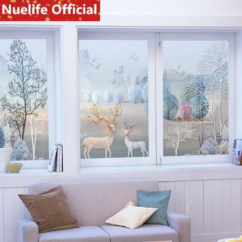 60x90cm Blue deer forest pattern frosted glass film toilet kitchen living room bedroom balcony Windows and doors glass film