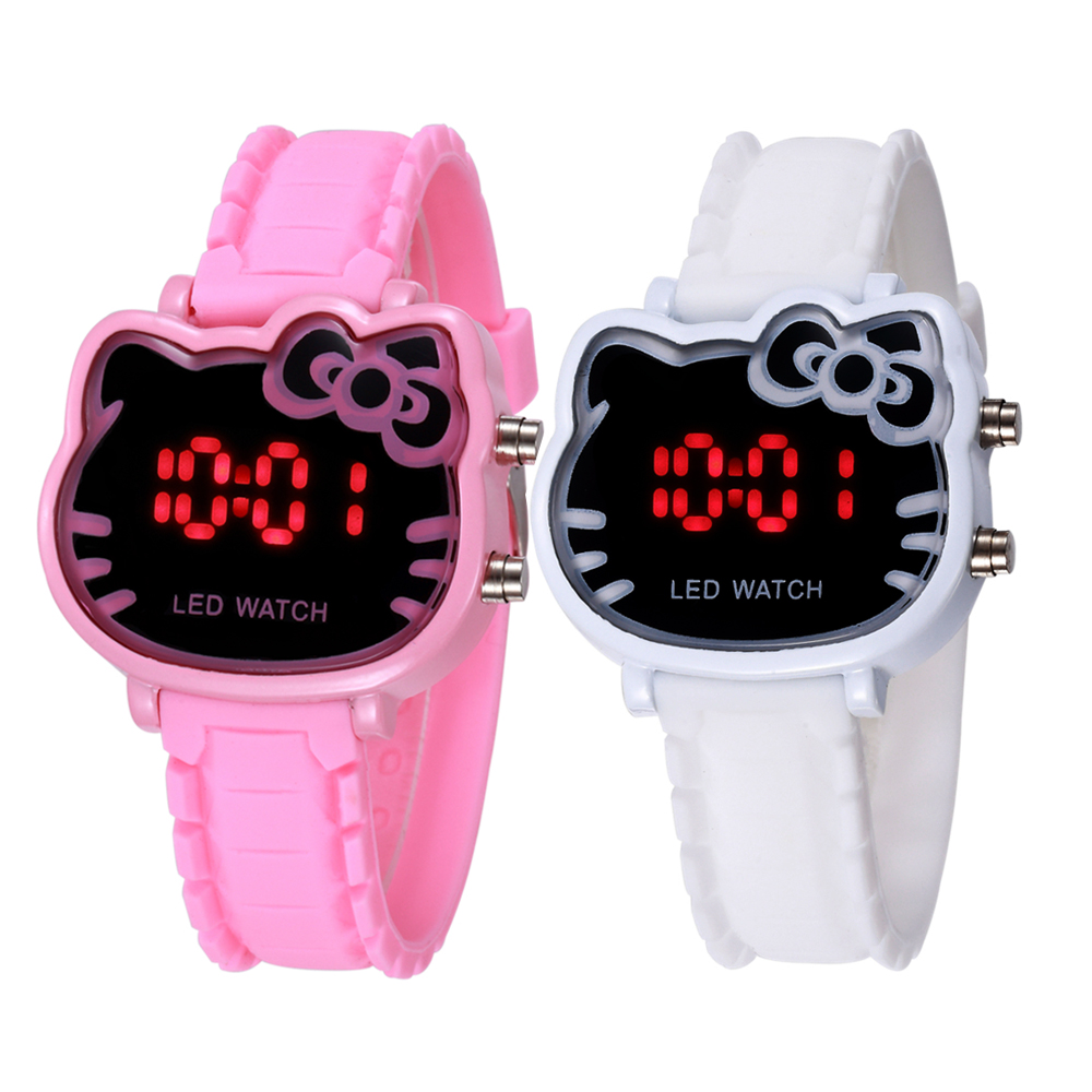Pink Girl Holiday Watches Hello Kitty Cute Cartoon Fashion Kid Children Clock Quality Wrist Relogio Hodinky Led Digital Display