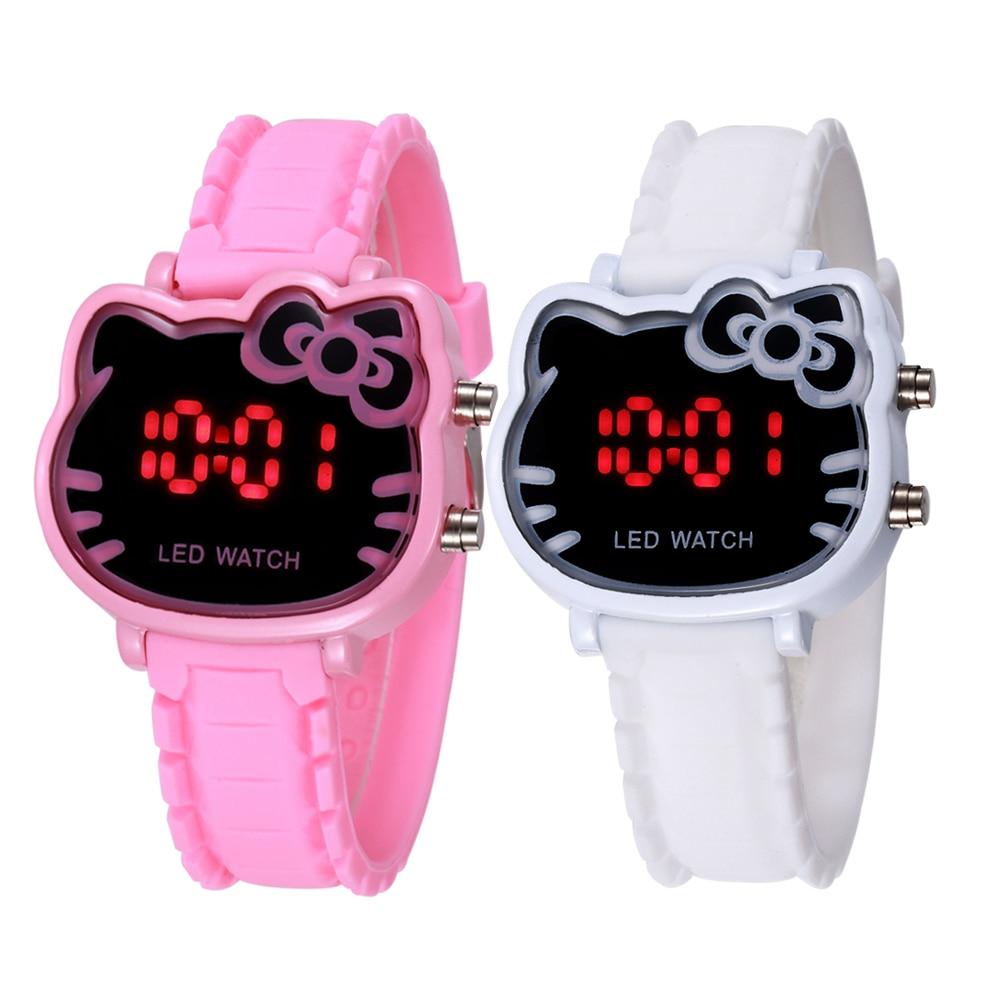 Pink Girl Holiday Watches Hello Kitty Cute Cartoon Fashion Kid Children Clock Quality Wrist Relogio Hodinky Led Digital Display
