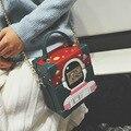 Hot! mulheres Bolsa Tendência Da Moda Pequena Caixa Robô Dos Desenhos Animados Bolsa de Ombro Hit Cor Bloqueio Mensageiro Senhoras Saco Crossbody Cadeia Bolso