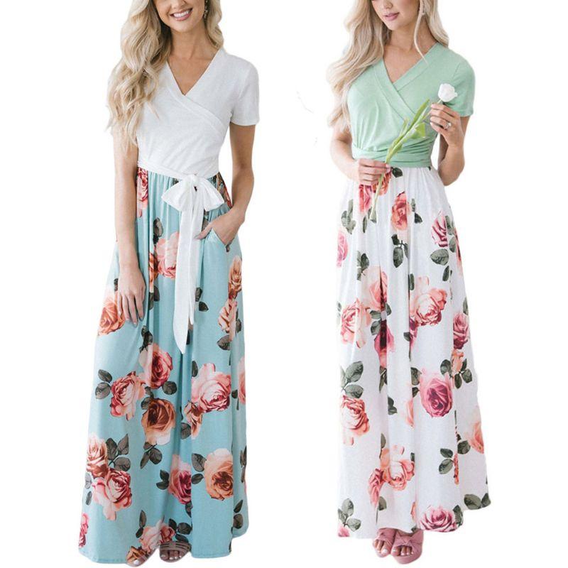 Летнее Длинное платье с цветочным принтом Boho пляжное платье туника Макси платье женское вечернее платье Сарафан Vestidos de festa