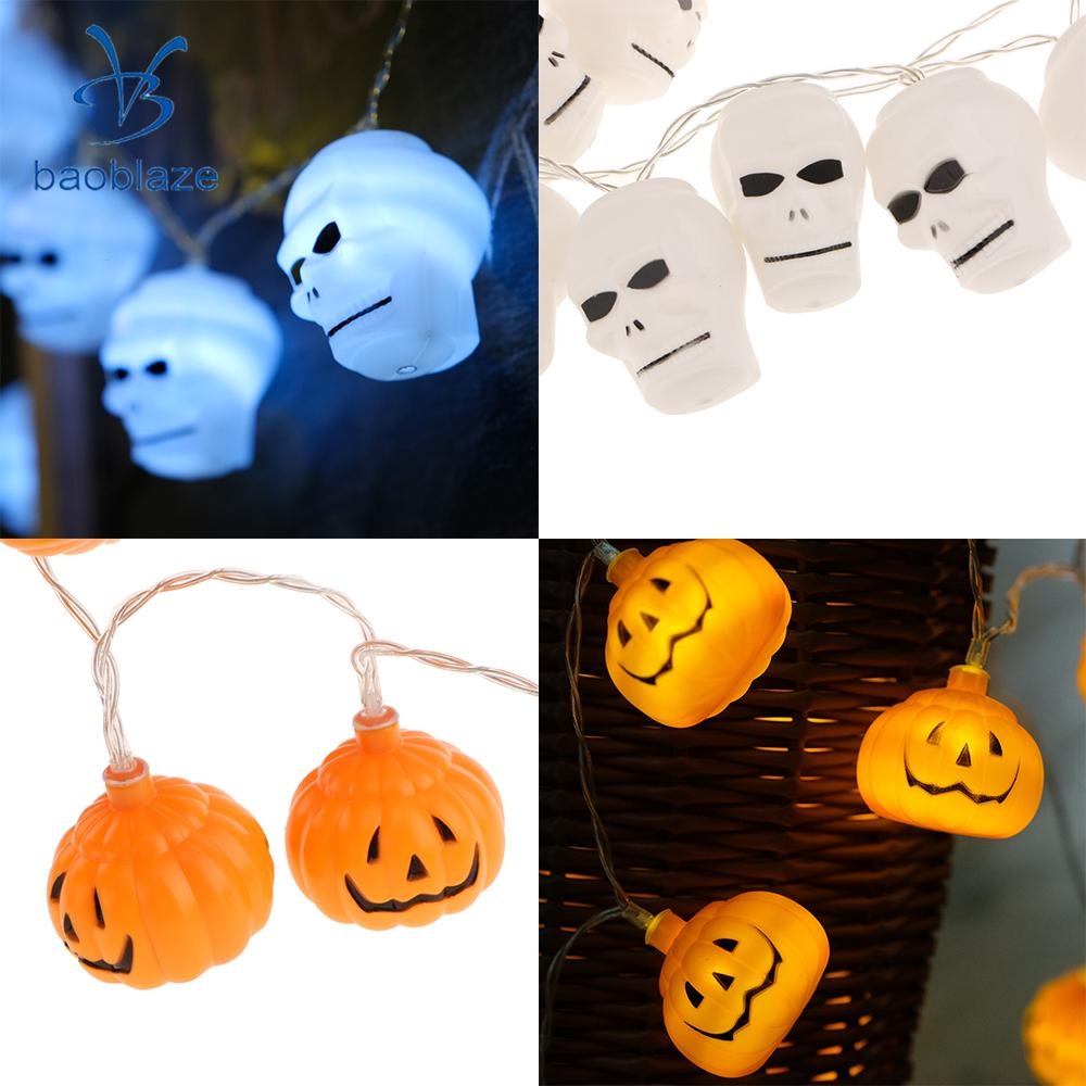 2x 20LED Helloween Theme Fairy String Light Home Garden Party Decor Lighting Skull&Pumpkin ...