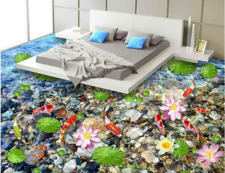 ФОТО Custom 3d floor murals 3d stereoscopic floor wallpaper Lotus self-adhesive waterproof PVC wallpaper 3d floor tiles
