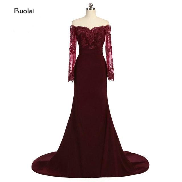 2017 Real Photo Elegant Burgundy Mermaid Bridesmaid Dresses Boat Neck  Appliques Sheer Long Sleeves Low Back