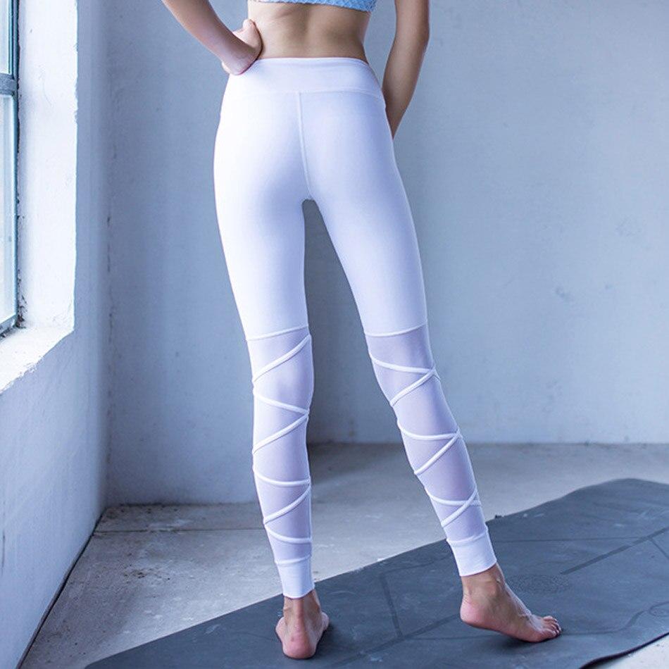 Mesh Patchwork Cross Leggings Women Thick Solid Fitness Leggings High Stretchy White Sportwear