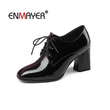ENMAYER Women Ankle boots Square toe Female Thick High heels Fashion Boots Big Size 33-43 Winter Leather Shoes Lace up CR1605