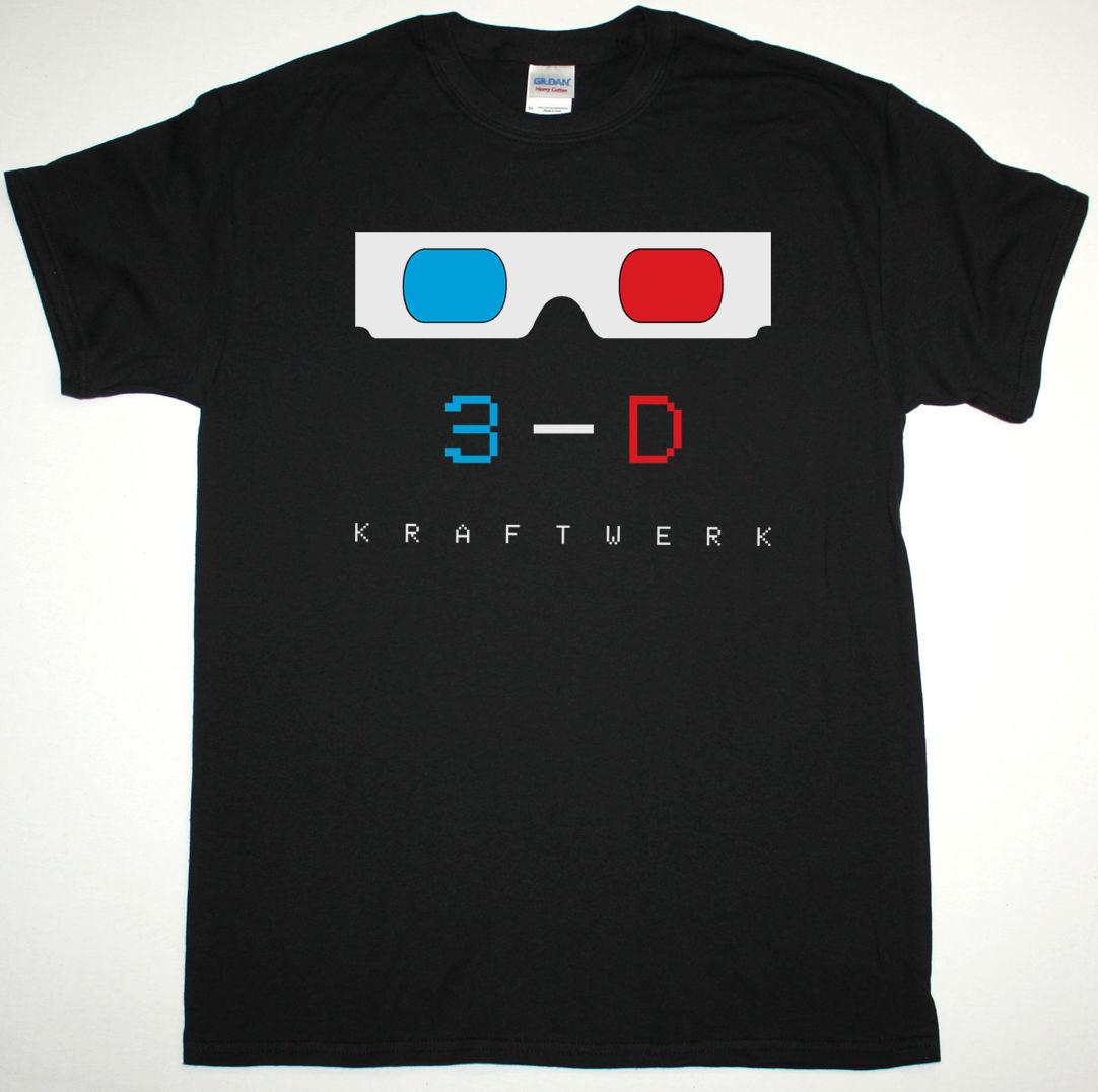 KRAFTWERK 3-D BLACK / WHITE MENS T SHIRT ELECTRONIC SYNTH KRAUTROCK ORGANISATION Fashion T-Shirt Tee Top Tee Plus Size