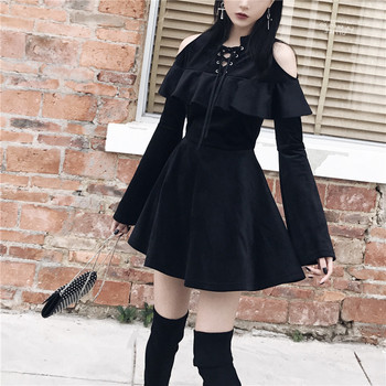 New Arrival Autumn Gothic Girls Dresses Chest Hollow Out  Lace Up Collar Sexy Women Dresses Long Sleeve A Line Black Punk Dress